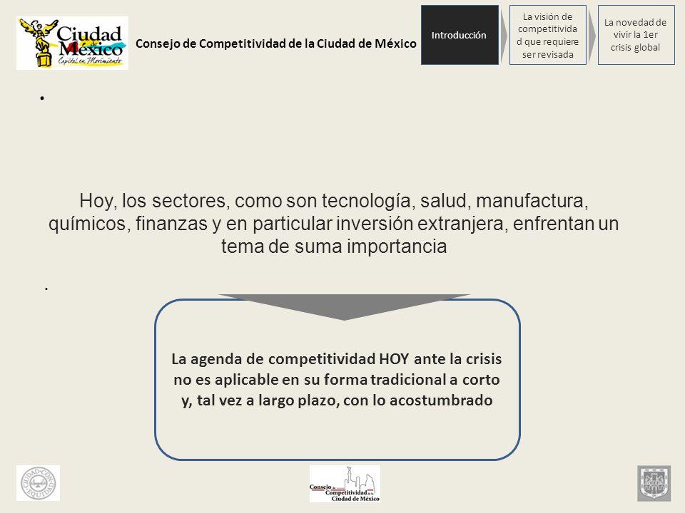 Consejo de Competitividad de la Ciudad de México. Hoy, los sectores, como son tecnología, salud, manufactura, químicos, finanzas y en particular inver