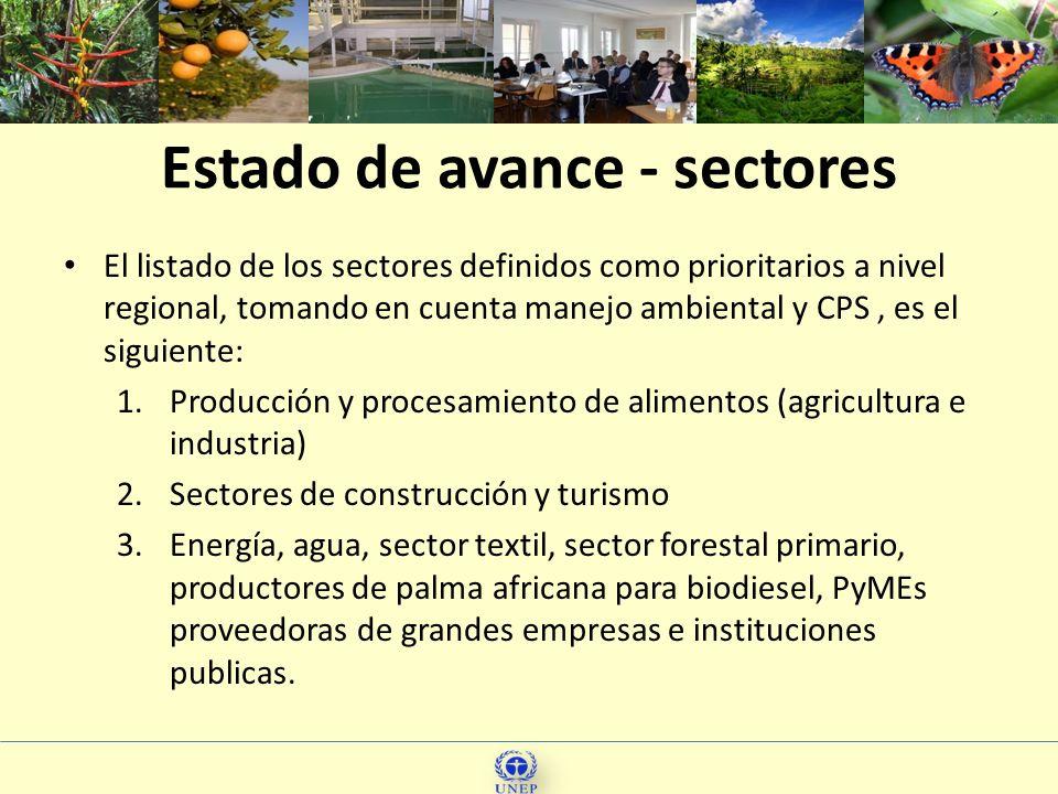 11 El listado de los sectores definidos como prioritarios a nivel regional, tomando en cuenta manejo ambiental y CPS, es el siguiente: 1.Producción y