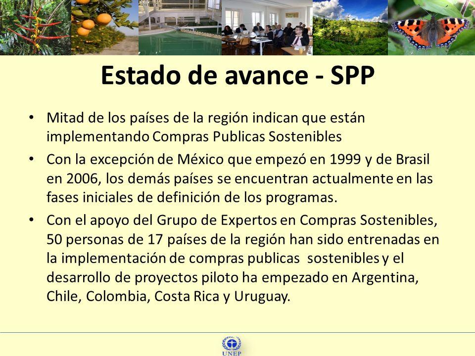 13 Mitad de los países de la región indican que están implementando Compras Publicas Sostenibles Con la excepción de México que empezó en 1999 y de Br