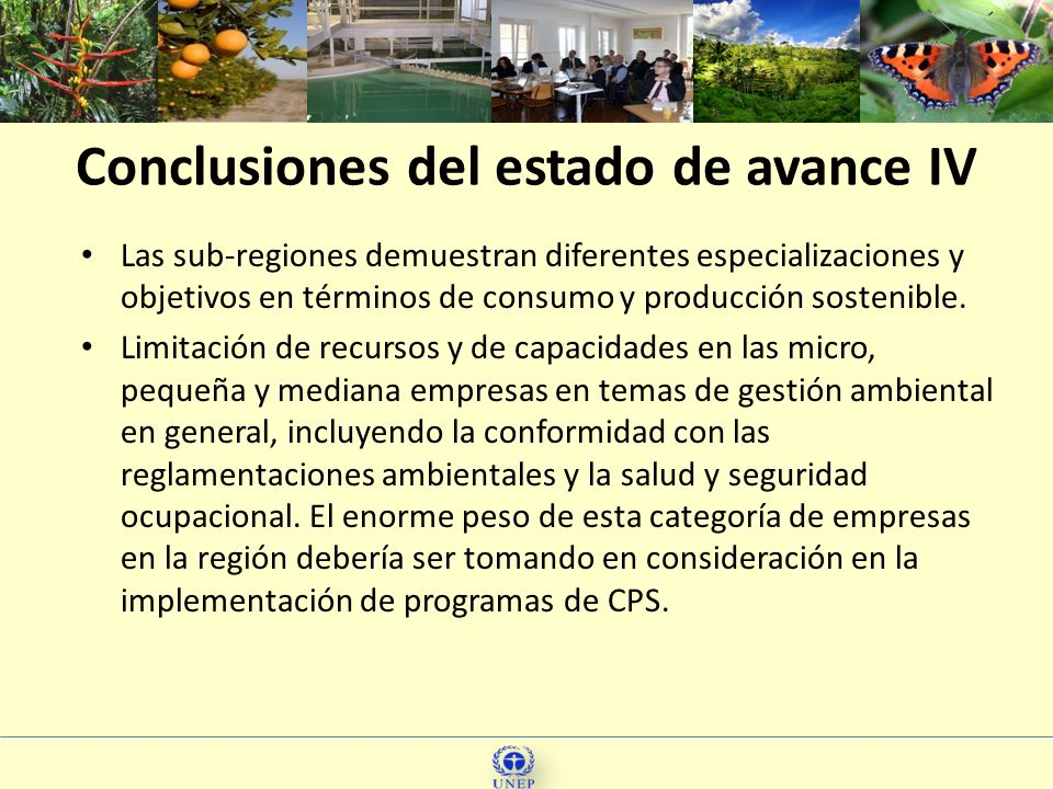 17 Las sub-regiones demuestran diferentes especializaciones y objetivos en términos de consumo y producción sostenible. Limitación de recursos y de ca
