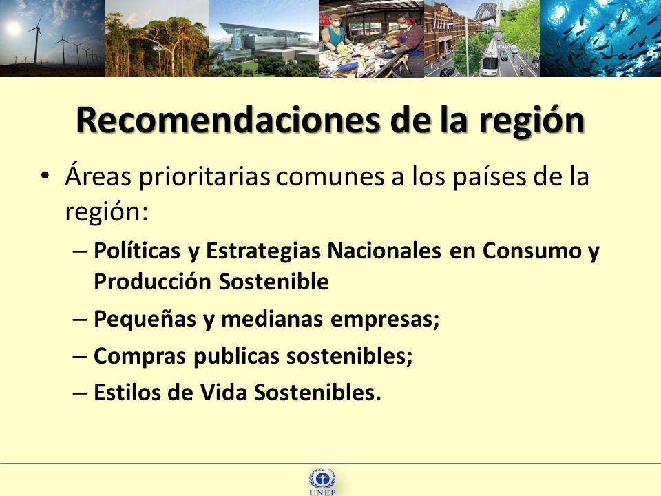 Recomendaciones de la región Áreas prioritarias comunes a los países de la región: – Políticas y Estrategias Nacionales en Consumo y Producción Sosten