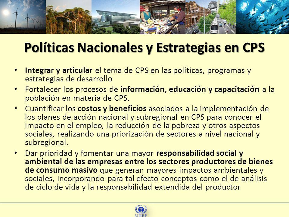 Políticas Nacionales y Estrategias en CPS Integrar y articular el tema de CPS en las políticas, programas y estrategias de desarrollo Fortalecer los p