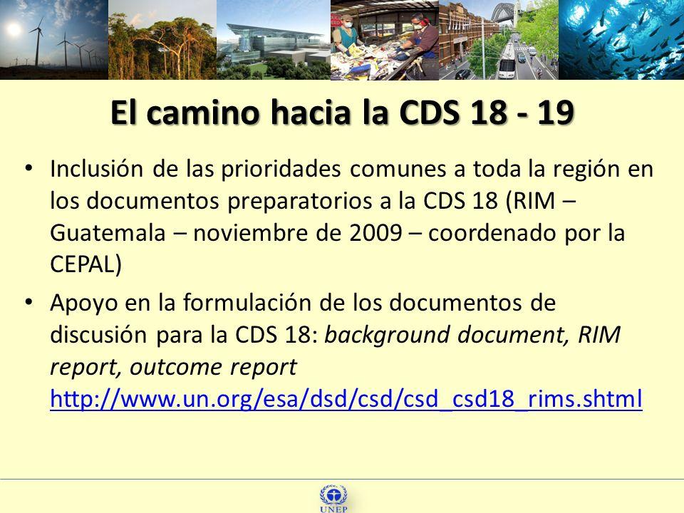 El camino hacia la CDS 18 - 19 Inclusión de las prioridades comunes a toda la región en los documentos preparatorios a la CDS 18 (RIM – Guatemala – no