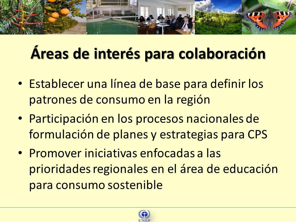 32 Áreas de interés para colaboración Establecer una línea de base para definir los patrones de consumo en la región Participación en los procesos nac
