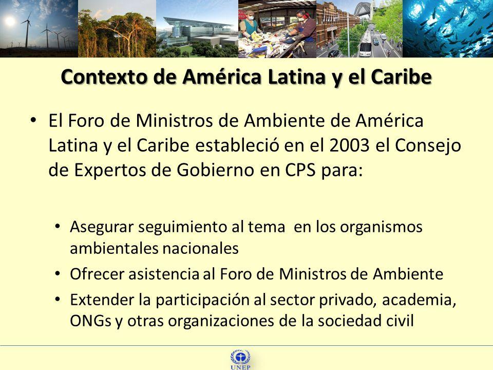 Contexto de América Latina y el Caribe El Foro de Ministros de Ambiente de América Latina y el Caribe estableció en el 2003 el Consejo de Expertos de