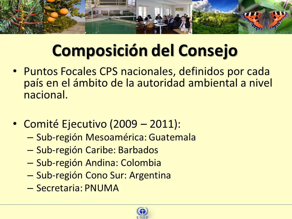 66 Composición del Consejo Puntos Focales CPS nacionales, definidos por cada país en el ámbito de la autoridad ambiental a nivel nacional. Comité Ejec