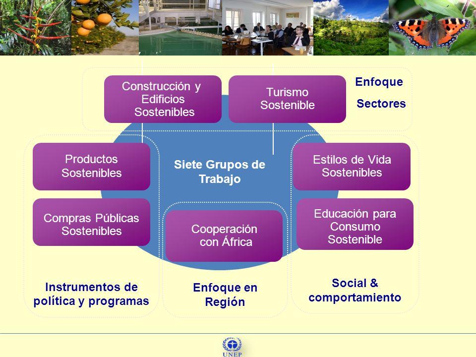 77 Enfoque en Región Instrumentos de política y programas Estilos de Vida Sostenibles Turismo Sostenible Educación para Consumo Sostenible Compras Púb