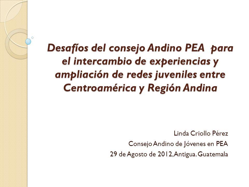 Desafíos del consejo Andino PEA para el intercambio de experiencias y ampliación de redes juveniles entre Centroamérica y Región Andina Linda Criollo