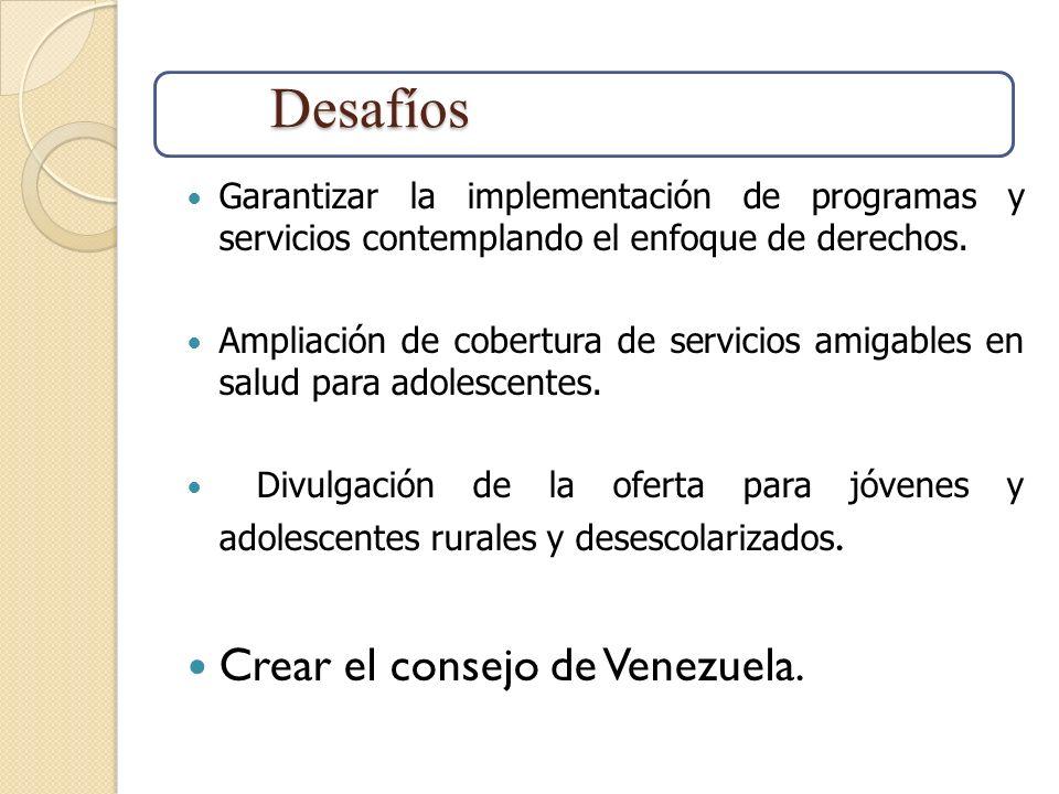 Garantizar la implementación de programas y servicios contemplando el enfoque de derechos. Ampliación de cobertura de servicios amigables en salud par
