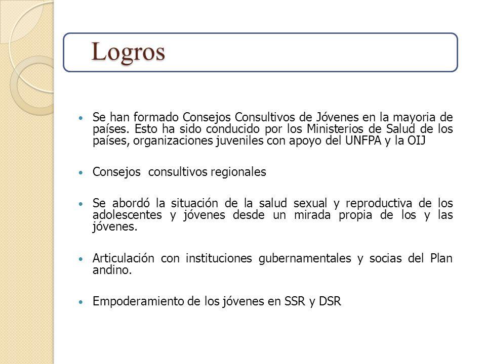 Se han formado Consejos Consultivos de Jóvenes en la mayoria de países. Esto ha sido conducido por los Ministerios de Salud de los países, organizacio