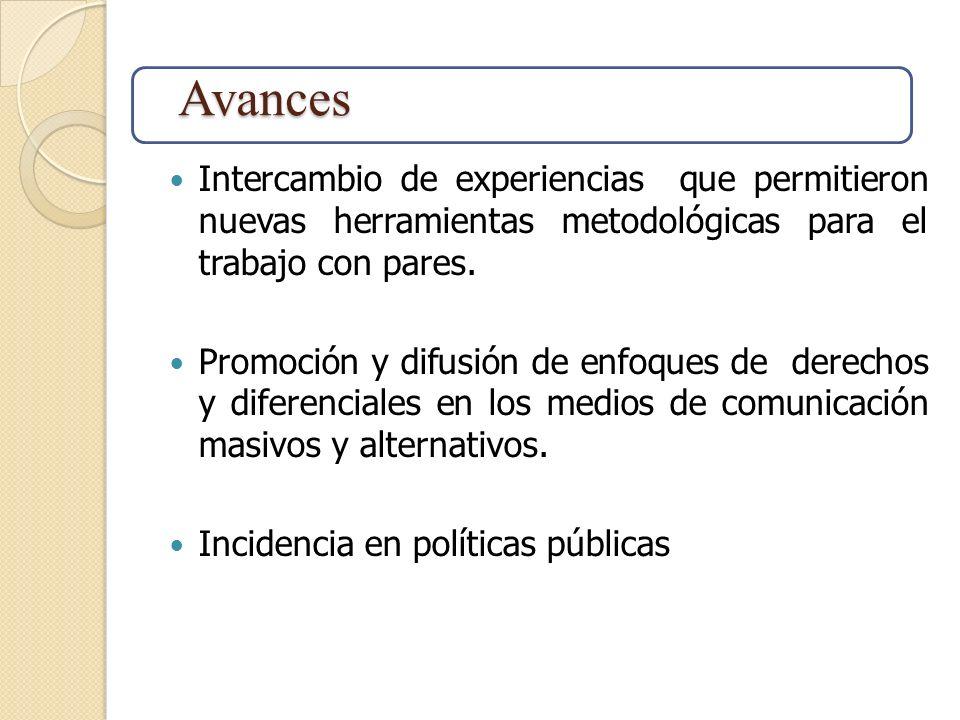 Intercambio de experiencias que permitieron nuevas herramientas metodológicas para el trabajo con pares. Promoción y difusión de enfoques de derechos