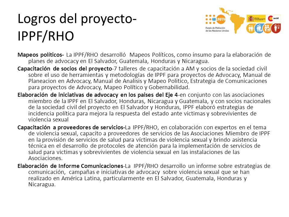Logros del proyecto- Ashonplafa-Honduras Fortalecimiento interno de capacidades, normas, contenidos y procesos en Advocacy sobre Violencia- Más de 100 personas de ASHONPLAFA sensibilizados en atención en VS incluyendo leyes y protocolos, participación en talleres de capacitación en temas de comunicaciones para advocacy, advocacy para el abordaje de la VS y atención integral VS.