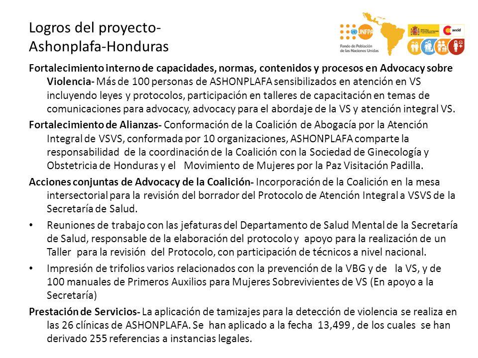 Logros del proyecto- PROFAMILIA-Nicaragua Fortalecimiento interno de capacidades, normas, contenidos y procesos en Advocacy sobre Violencia- Personal sensibilizado y capacitado sobre advocacy y VS.