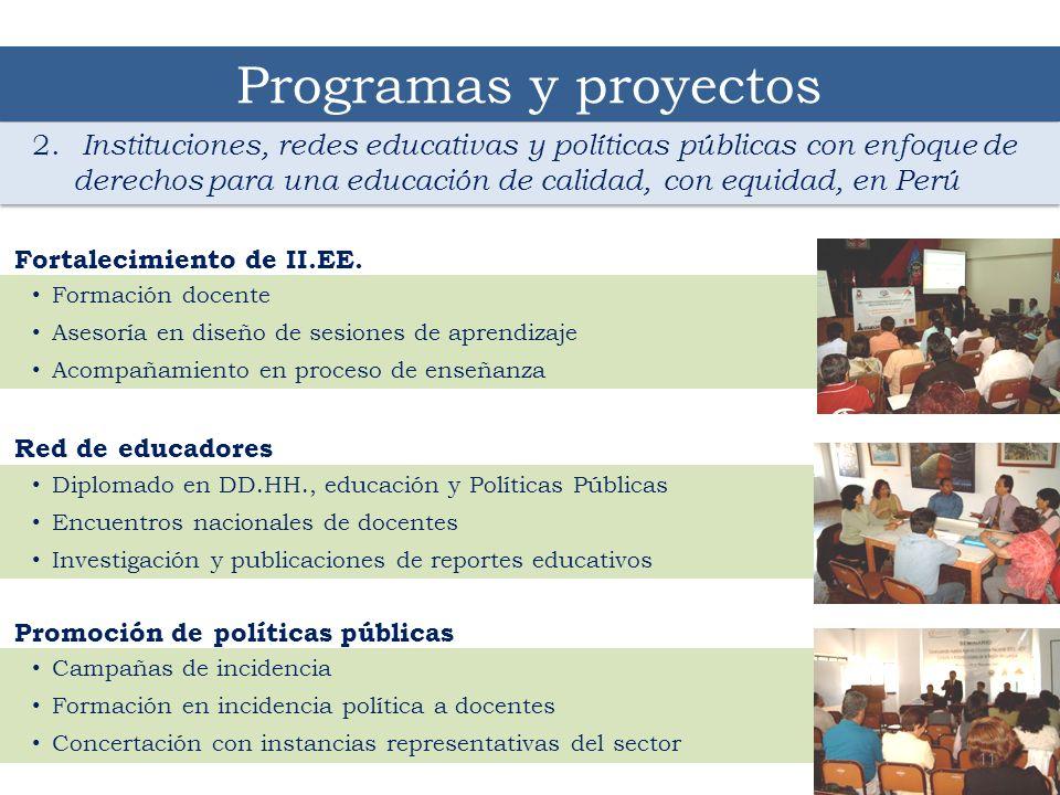 Programas y proyectos 2. Instituciones, redes educativas y políticas públicas con enfoque de derechos para una educación de calidad, con equidad, en P