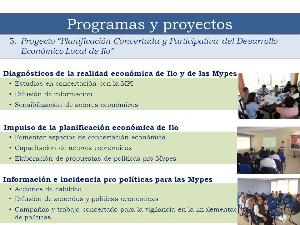 14 Programas y proyectos 5. Proyecto Planificación Concertada y Participativa del Desarrollo Económico Local de Ilo Estudios en concertación con la MP