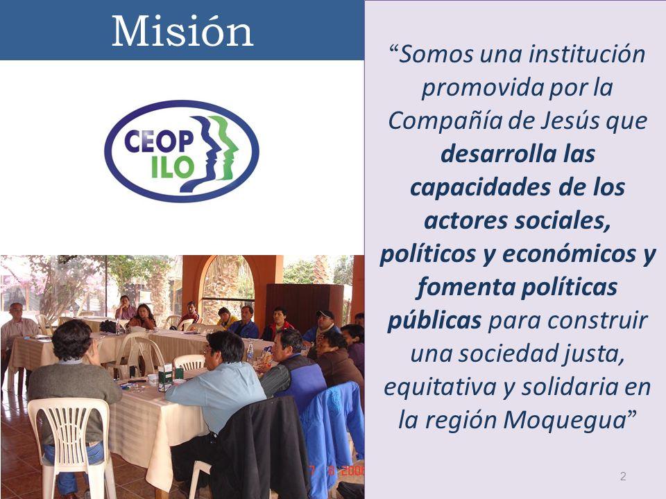Somos una institución promovida por la Compañía de Jesús que desarrolla las capacidades de los actores sociales, políticos y económicos y fomenta polí