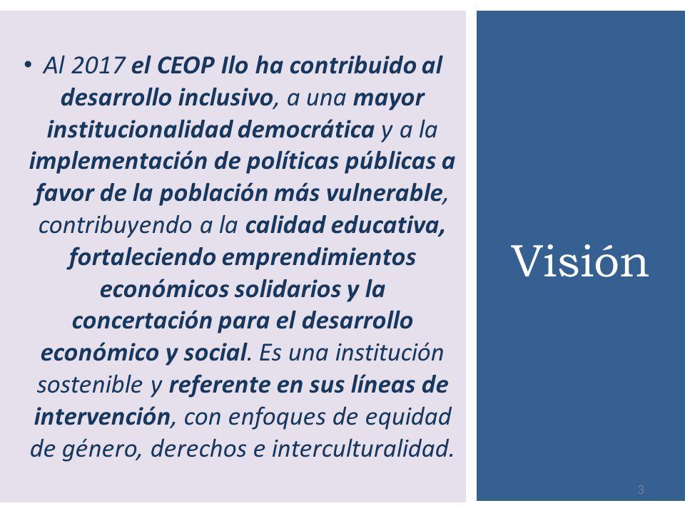 Al 2017 el CEOP Ilo ha contribuido al desarrollo inclusivo, a una mayor institucionalidad democrática y a la implementación de políticas públicas a fa
