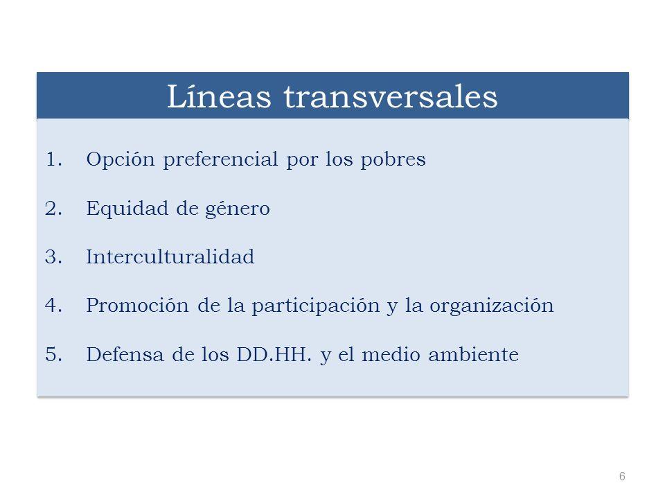 Líneas transversales 1.Opción preferencial por los pobres 2.Equidad de género 3.Interculturalidad 4.Promoción de la participación y la organización 5.
