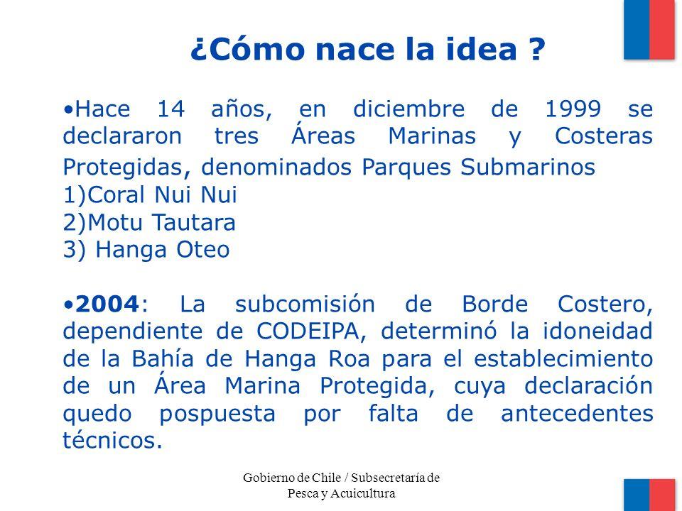 Hace 14 años, en diciembre de 1999 se declararon tres Áreas Marinas y Costeras Protegidas, denominados Parques Submarinos 1)Coral Nui Nui 2)Motu Tautara 3) Hanga Oteo 2004: La subcomisión de Borde Costero, dependiente de CODEIPA, determinó la idoneidad de la Bahía de Hanga Roa para el establecimiento de un Área Marina Protegida, cuya declaración quedo pospuesta por falta de antecedentes técnicos.