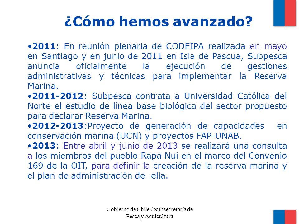 2011: En reunión plenaria de CODEIPA realizada en mayo en Santiago y en junio de 2011 en Isla de Pascua, Subpesca anuncia oficialmente la ejecución de gestiones administrativas y técnicas para implementar la Reserva Marina.
