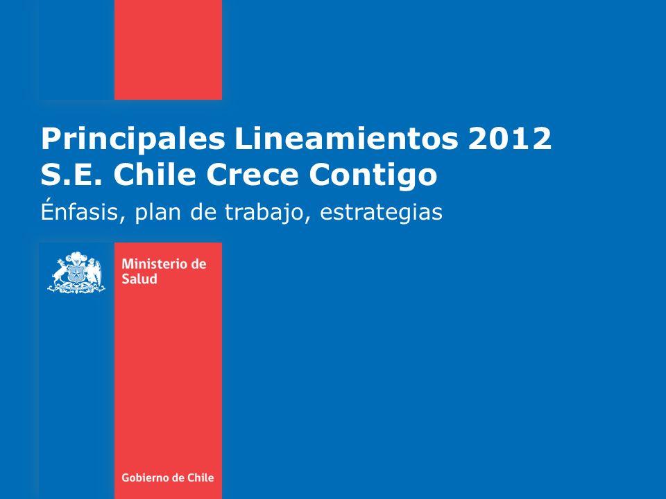 Principales Lineamientos 2012 S.E. Chile Crece Contigo Énfasis, plan de trabajo, estrategias