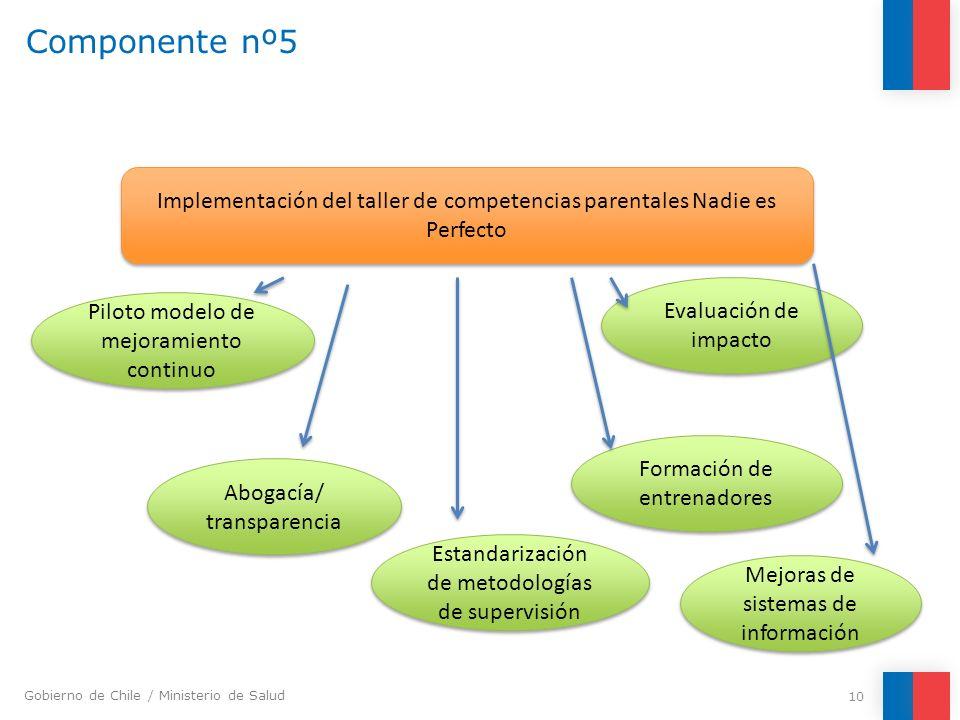 Gobierno de Chile / Ministerio de Salud Componente nº5 10 Implementación del taller de competencias parentales Nadie es Perfecto Abogacía/ transparenc