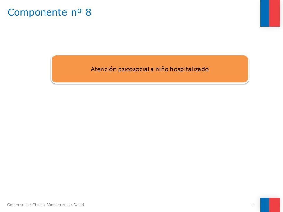 Gobierno de Chile / Ministerio de Salud Componente nº 8 13 Atención psicosocial a niño hospitalizado