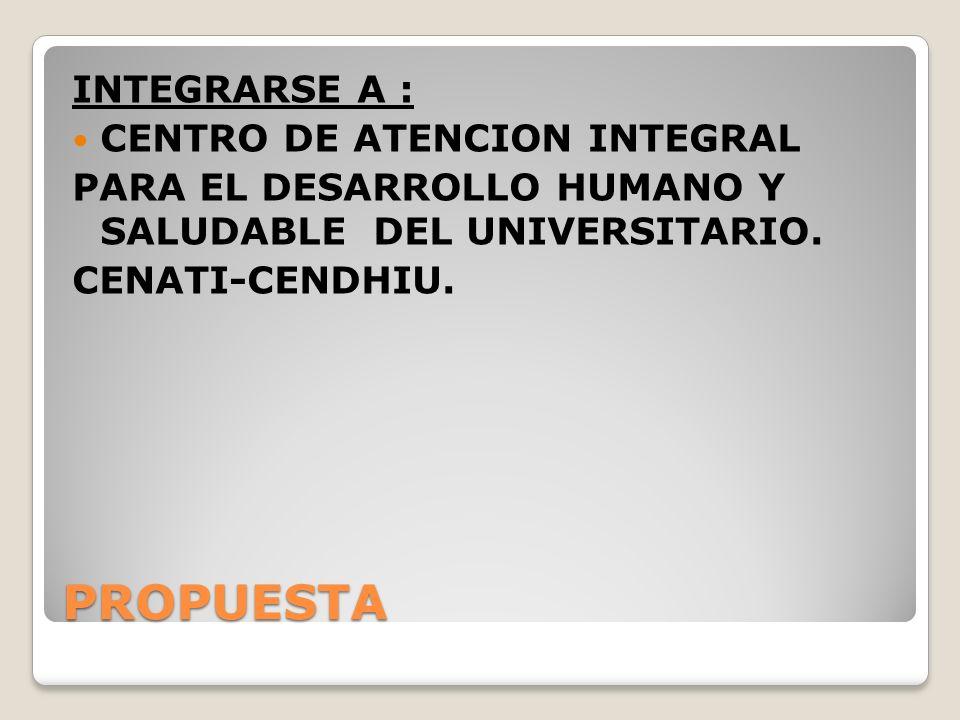 PROPUESTA INTEGRARSE A : CENTRO DE ATENCION INTEGRAL PARA EL DESARROLLO HUMANO Y SALUDABLE DEL UNIVERSITARIO. CENATI-CENDHIU.