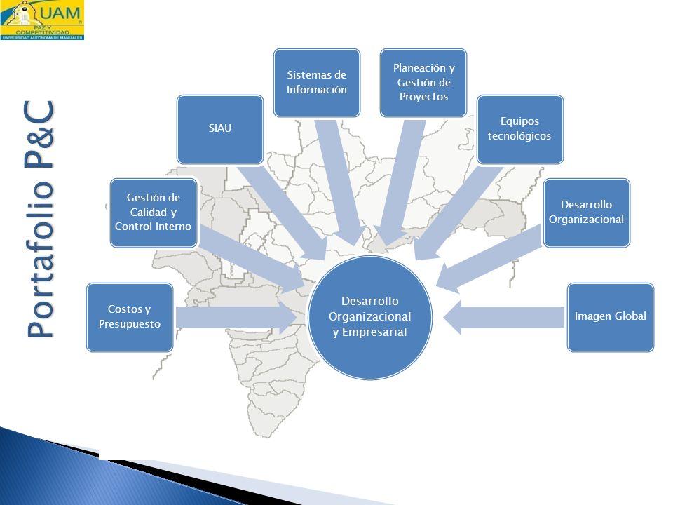 Desarrollo Organizacional y Empresarial Costos y Presupuesto Gestión de Calidad y Control Interno SIAU Sistemas de Información Planeación y Gestión de Proyectos Equipos tecnológicos Desarrollo Organizacional Imagen Global