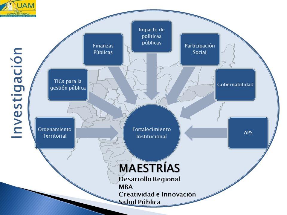 Fortalecimiento Institucional Ordenamiento Territorial TICs para la gestión pública Finanzas Públicas Impacto de políticas públicas Participación Social GobernabilidadAPS MAESTRÍAS Desarrollo Regional MBA Creatividad e Innovación Salud Pública