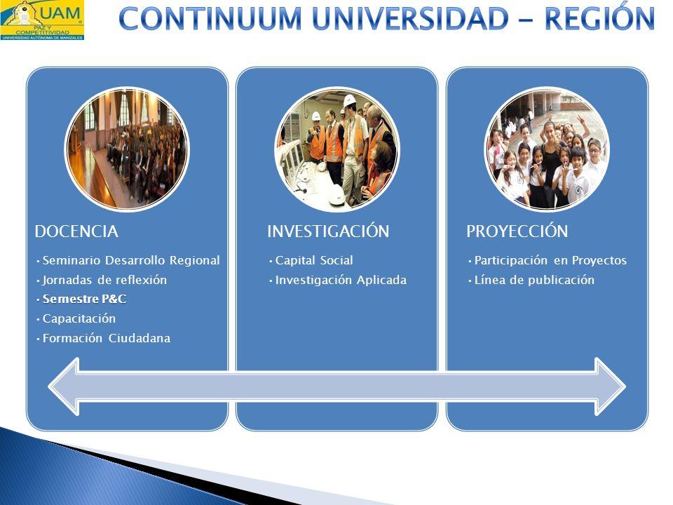 DOCENCIA Seminario Desarrollo Regional Jornadas de reflexión Semestre P&CSemestre P&C Capacitación Formación Ciudadana INVESTIGACIÓN Capital Social In