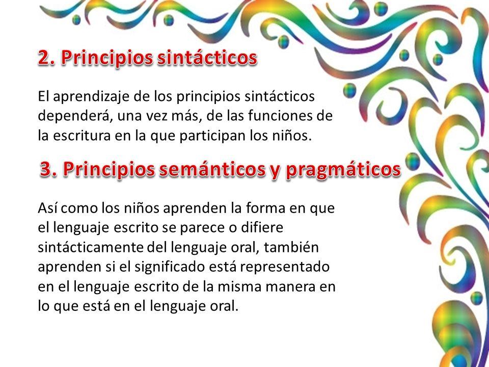 El aprendizaje de los principios sintácticos dependerá, una vez más, de las funciones de la escritura en la que participan los niños.