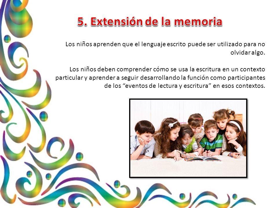 Los niños aprenden que el lenguaje escrito puede ser utilizado para no olvidar algo.