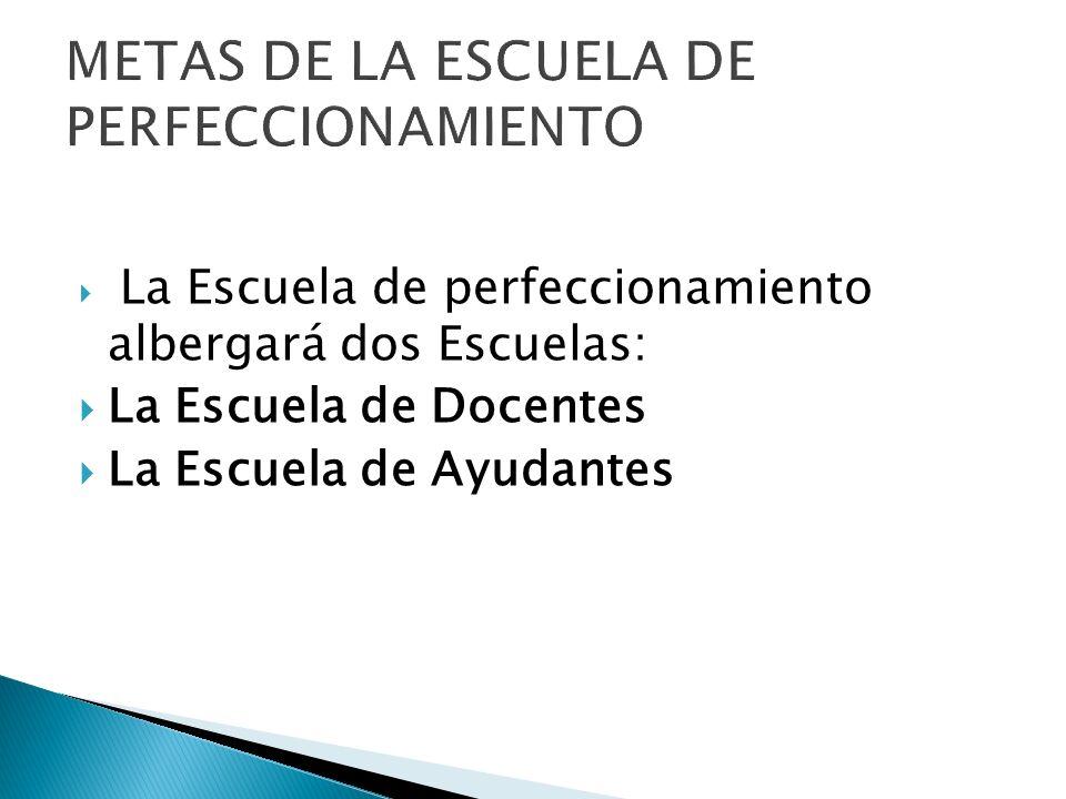 La Escuela de perfeccionamiento albergará dos Escuelas: La Escuela de Docentes La Escuela de Ayudantes