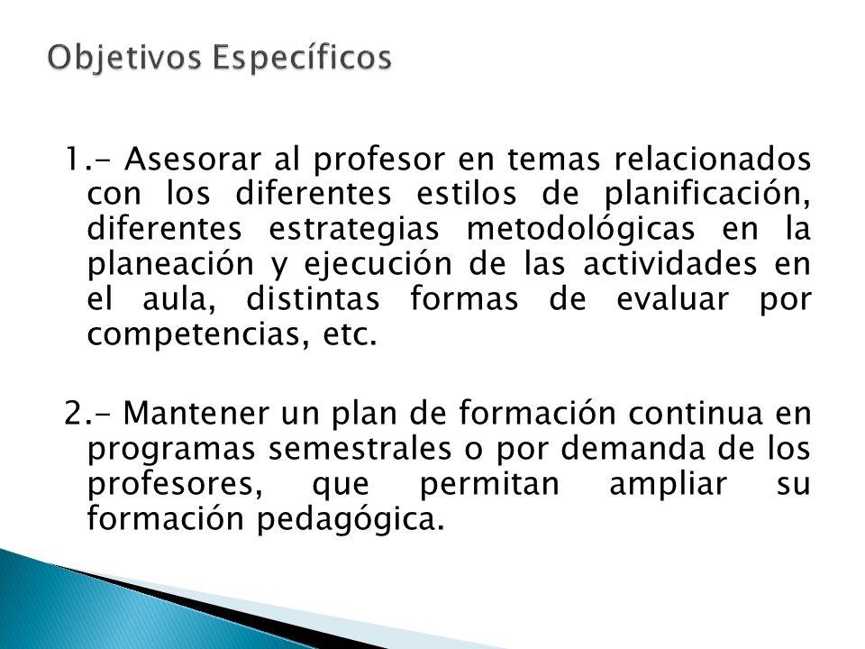 1.- Asesorar al profesor en temas relacionados con los diferentes estilos de planificación, diferentes estrategias metodológicas en la planeación y ej