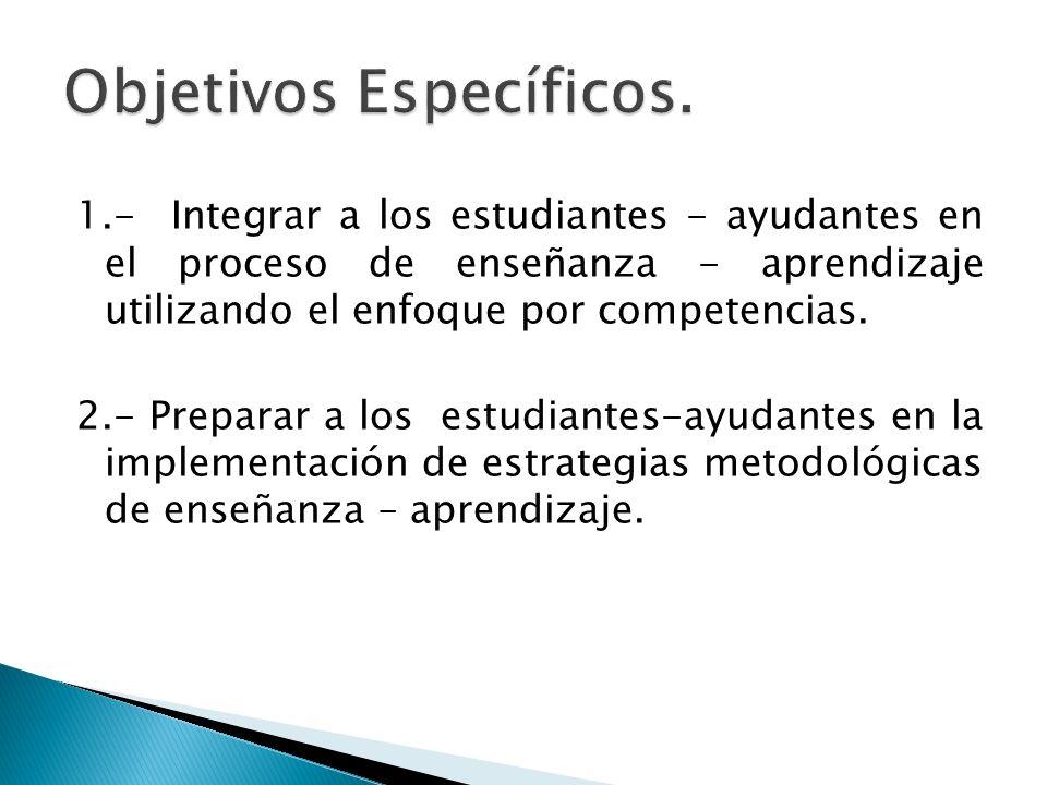 1.- Integrar a los estudiantes - ayudantes en el proceso de enseñanza - aprendizaje utilizando el enfoque por competencias. 2.- Preparar a los estudia
