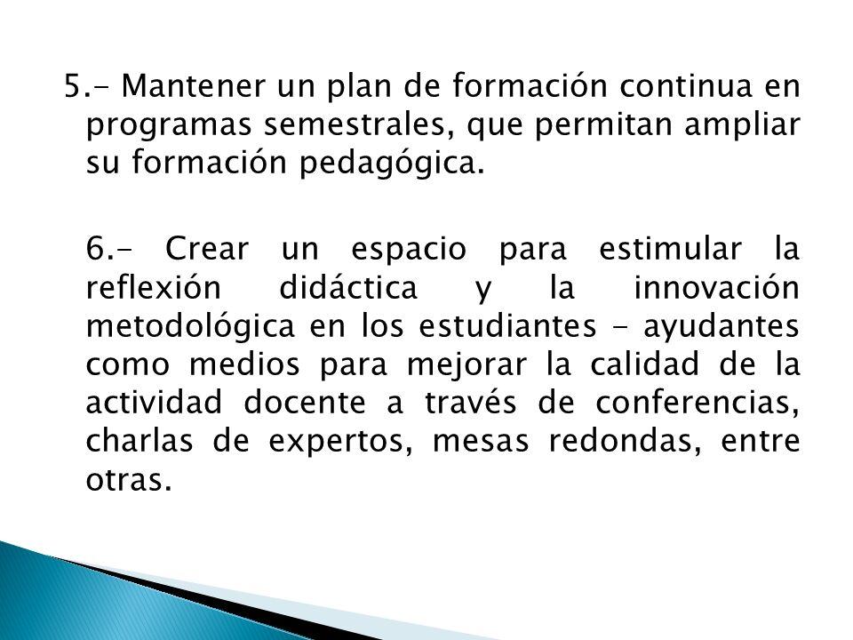 5.- Mantener un plan de formación continua en programas semestrales, que permitan ampliar su formación pedagógica. 6.- Crear un espacio para estimular