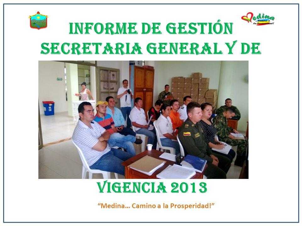 INFORME DE GESTIÓN SECRETARIA GENERAL Y DE GOBIERNO VIGENCIA 2013 Medina… Camino a la Prosperidad!