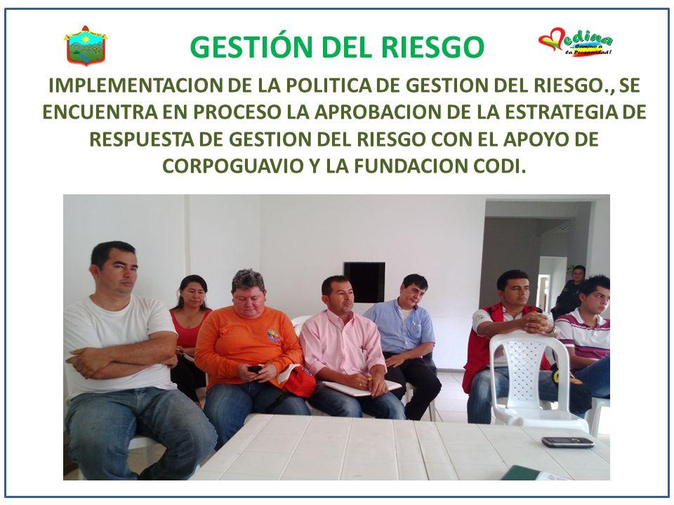 GESTIÓN DEL RIESGO IMPLEMENTACION DE LA POLITICA DE GESTION DEL RIESGO., SE ENCUENTRA EN PROCESO LA APROBACION DE LA ESTRATEGIA DE RESPUESTA DE GESTIO