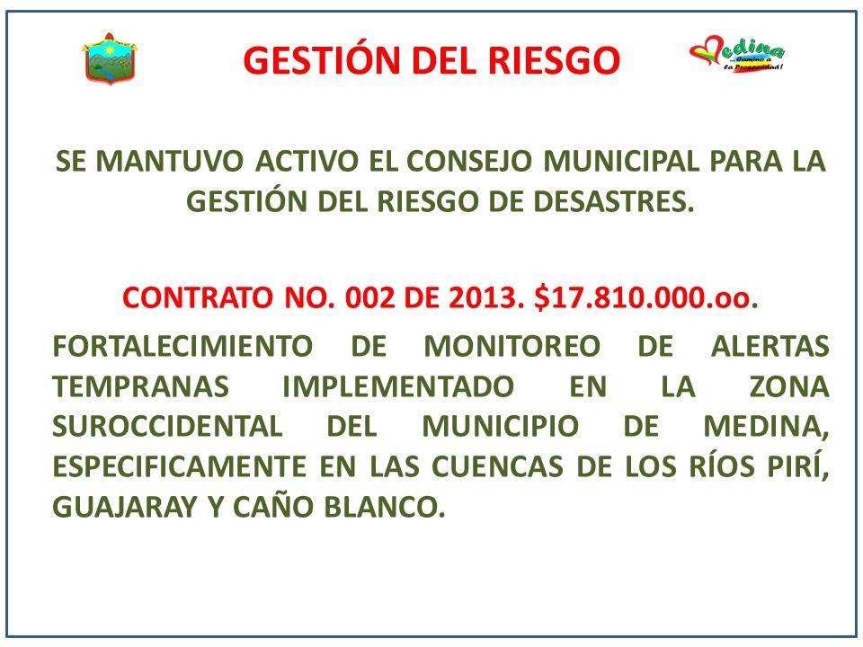 GESTIÓN DEL RIESGO SE MANTUVO ACTIVO EL CONSEJO MUNICIPAL PARA LA GESTIÓN DEL RIESGO DE DESASTRES. CONTRATO NO. 002 DE 2013. $17.810.000.oo. FORTALECI