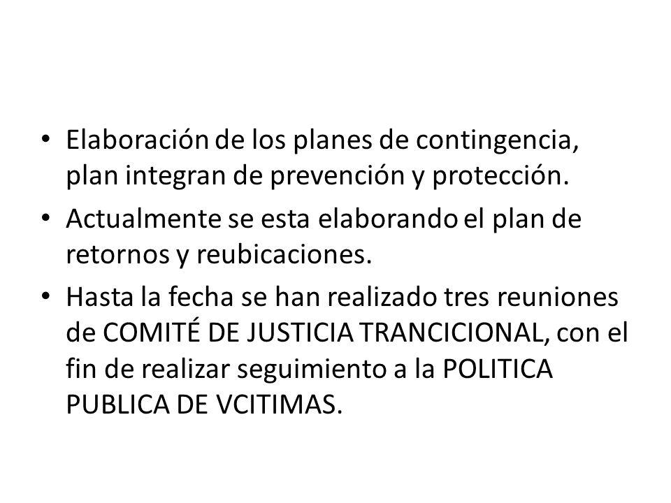 Elaboración de los planes de contingencia, plan integran de prevención y protección. Actualmente se esta elaborando el plan de retornos y reubicacione