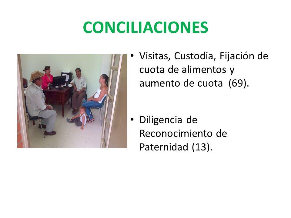 CONCILIACIONES Visitas, Custodia, Fijación de cuota de alimentos y aumento de cuota (69). Diligencia de Reconocimiento de Paternidad (13).