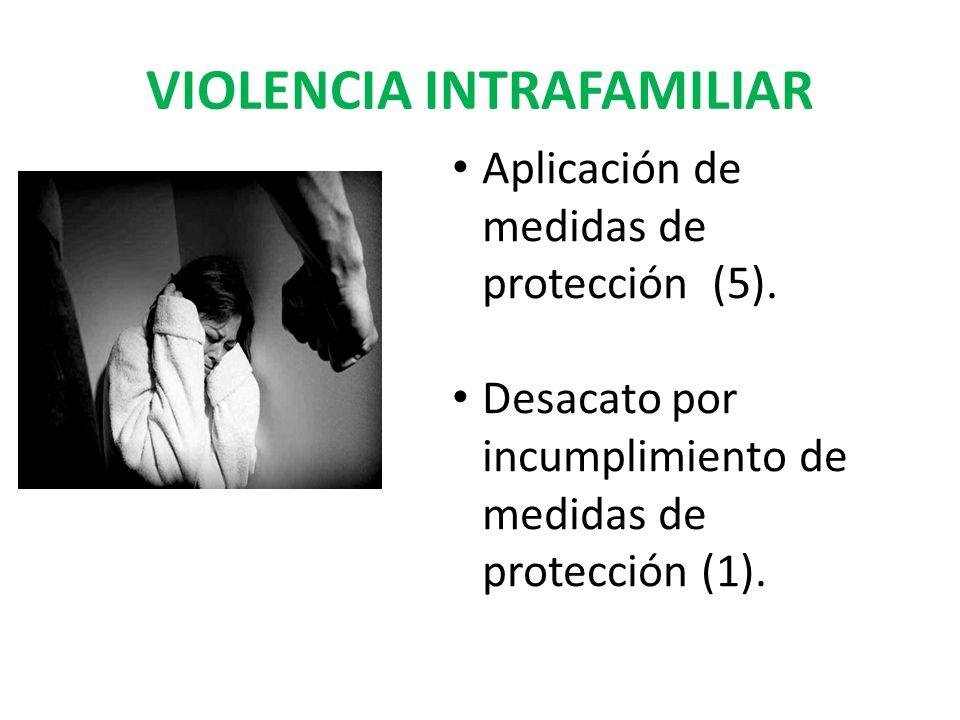 VIOLENCIA INTRAFAMILIAR Aplicación de medidas de protección (5). Desacato por incumplimiento de medidas de protección (1).