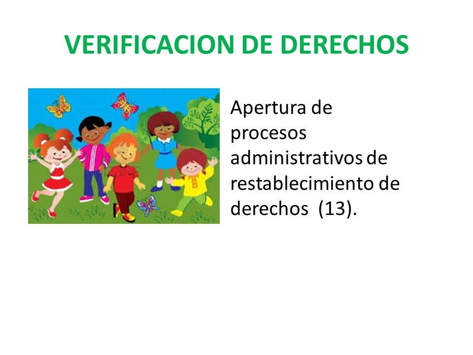 VERIFICACION DE DERECHOS Apertura de procesos administrativos de restablecimiento de derechos (13).