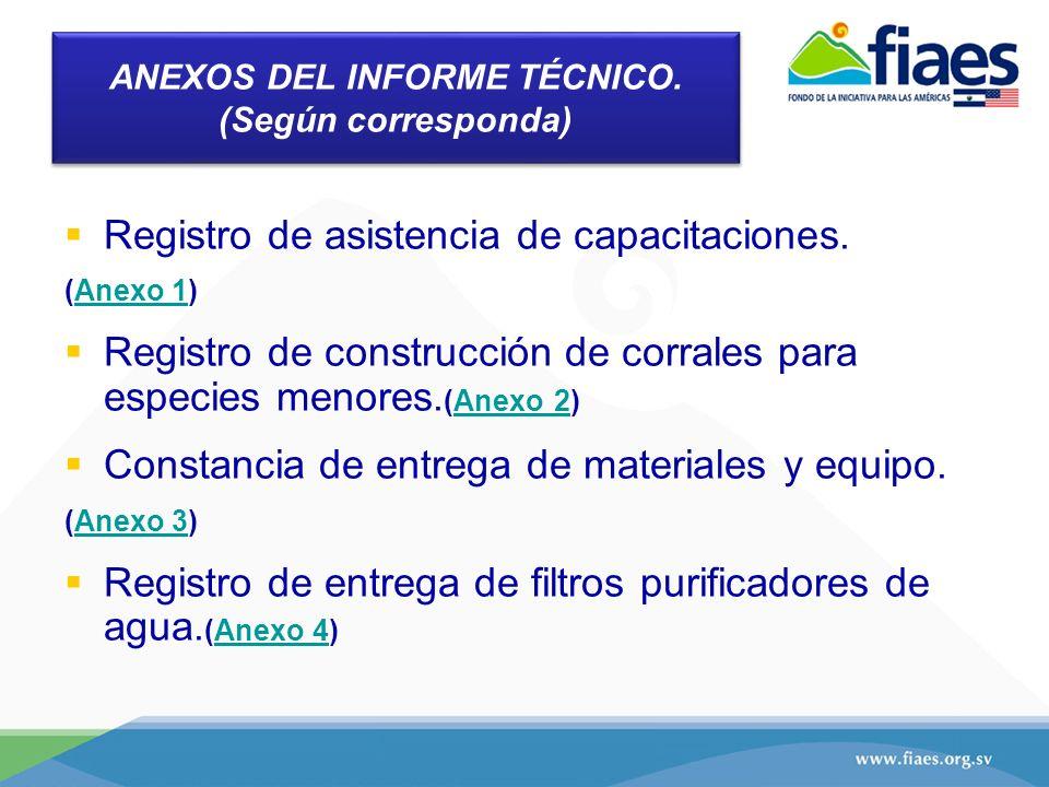 ANEXOS DEL INFORME TÉCNICO. (Según corresponda) Registro de asistencia de capacitaciones. (Anexo 1)Anexo 1 Registro de construcción de corrales para e