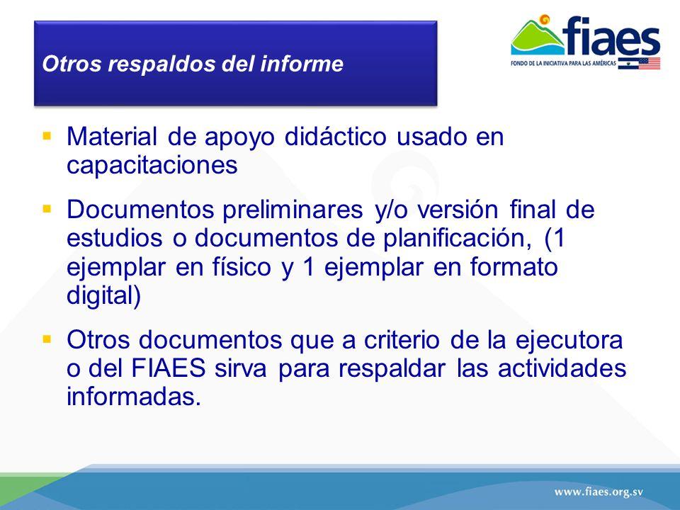 Otros respaldos del informe Material de apoyo didáctico usado en capacitaciones Documentos preliminares y/o versión final de estudios o documentos de