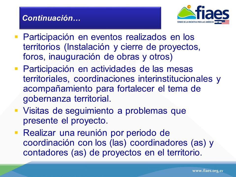 Continuación… Participación en eventos realizados en los territorios (Instalación y cierre de proyectos, foros, inauguración de obras y otros) Partici