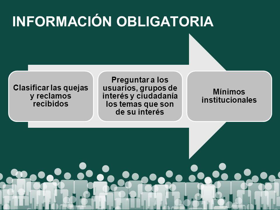 INFORMACIÓN OBLIGATORIA Clasificar las quejas y reclamos recibidos Preguntar a los usuarios, grupos de interés y ciudadanía los temas que son de su in