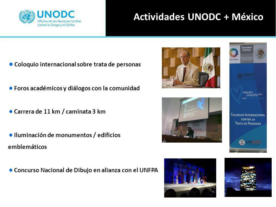 Coloquio internacional sobre trata de personas Foros académicos y diálogos con la comunidad Carrera de 11 km / caminata 3 km Iluminación de monumentos / edificios emblemáticos Concurso Nacional de Dibujo en alianza con el UNFPA Actividades UNODC + México