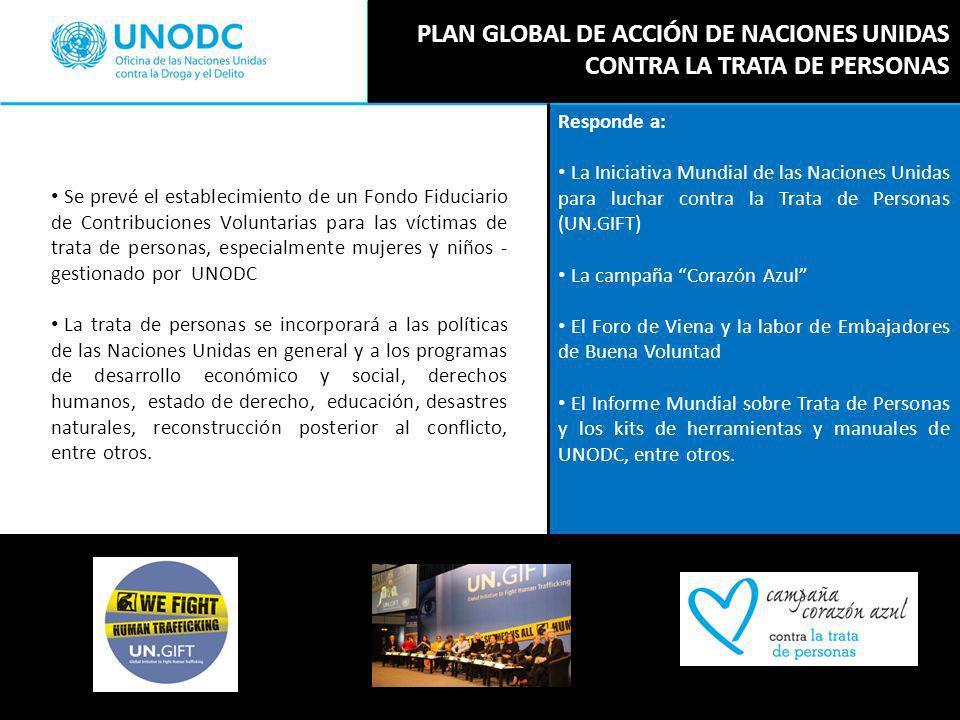 Responde a: La Iniciativa Mundial de las Naciones Unidas para luchar contra la Trata de Personas (UN.GIFT) La campaña Corazón Azul El Foro de Viena y la labor de Embajadores de Buena Voluntad El Informe Mundial sobre Trata de Personas y los kits de herramientas y manuales de UNODC, entre otros.